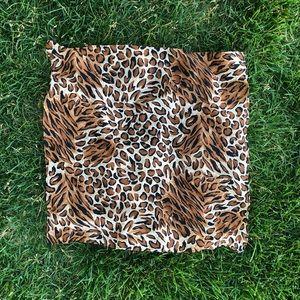 Vintage leopard print square neck hair scarf